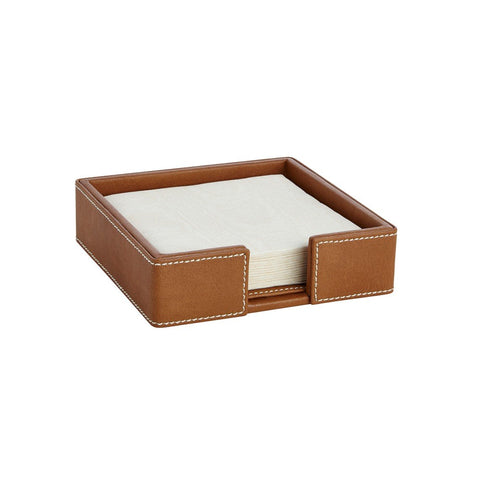 Suede British Tan Cocktail Napkin Holder W/ Napkins