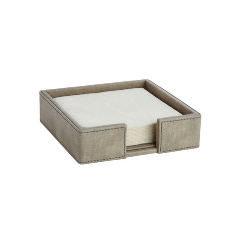 Suede Pewter Cocktail Napkin Holder W/ Napkins