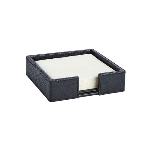 Shagreen Black Cocktail Napkin Holder W/ Napkin