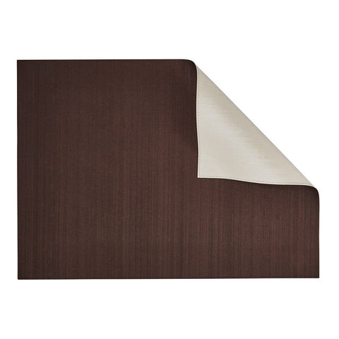 Silk Dark Chocolate /Ivory Rectangular Placemat-Double sided