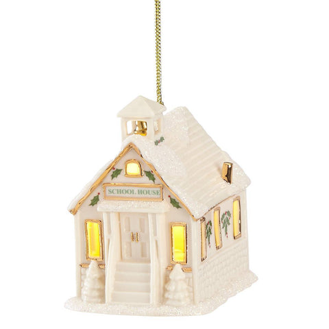Christmas Village Schoolhouse Lighted Ornament