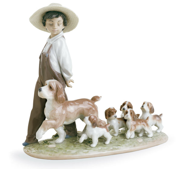 Lladro My Little Explorers Boy with Dogs Figurine - Dalmazio Design