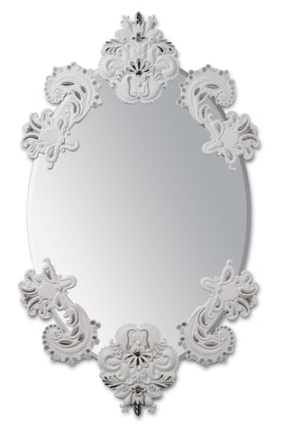 Lladro Oval Wall Mirror without Frame. Silver Lustre. Limited Edition - Dalmazio Design