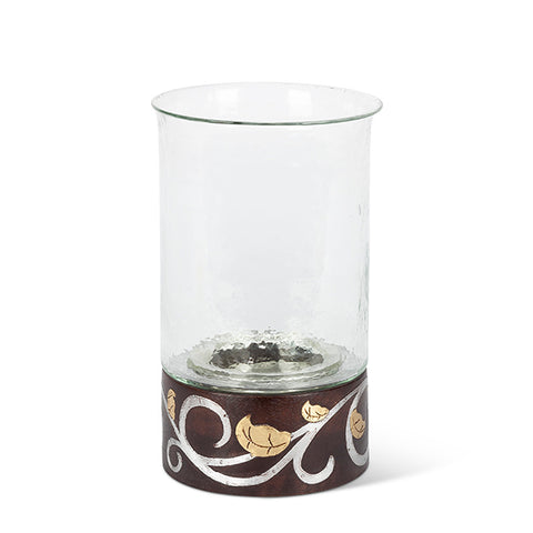 "Gold Leaf 12""H Wood / Inlay Candleholder"
