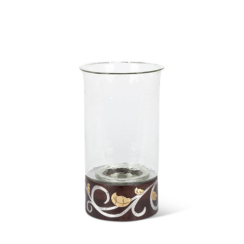 "Gold Leaf 13.5""H Wood / Inlay Candleholder"