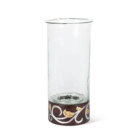 "Gold Leaf 16""H Wood / Inlay Candleholder"