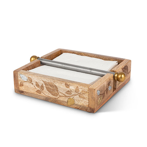 Inlay/Laser Leaf Napkin Holder