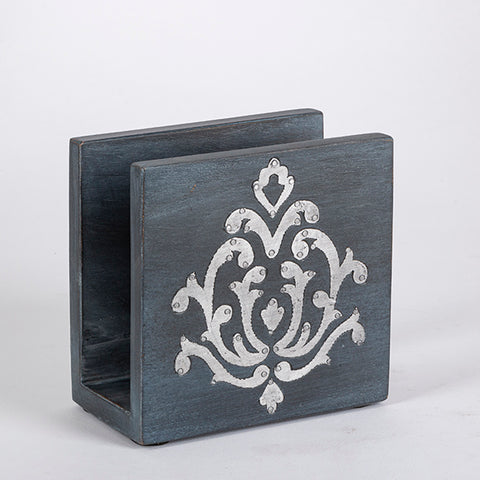 Blackwashed Mango Wood Inlay Napkin Holder
