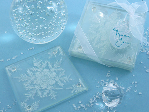 Dalmazio Design - Artisano Designs- Shimmering Snow Crystal Frosted Snowflake Glass Coasters (Set of 2)