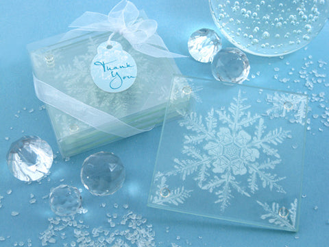 Dalmazio Design - Artisano Designs- Shimmering Snow Crystal Frosted Snowflake Glass Coasters (Set of 4)