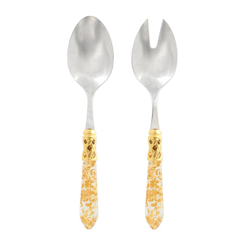 Vietri Aladdin Brilliant Gold Fleck Salad Server Set Dalmazio Design