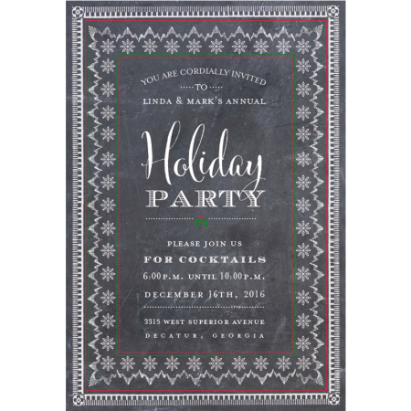 Holiday Party Chalkboard Personalized Invitations (Set of 50)
