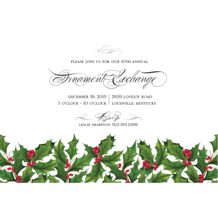 Traditional Holly Border Personalized Invitations (Set of 50)