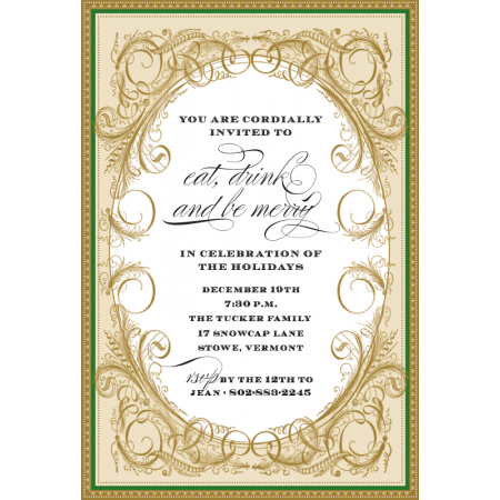 Victorian Holly Personalized Invitations (Set of 50)