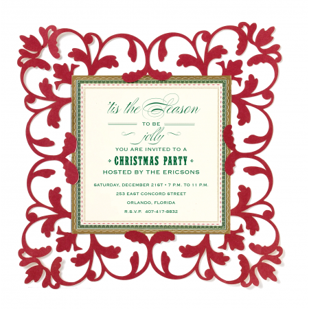 Red Glitter Pocket Personalized Invitations (Set of 50)