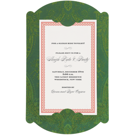 Green Damask Glitter Carrier Personalized Invitations (Set of 50)