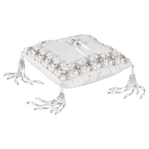 Olivia Riegel Emily Ring Bearer Pillow with Silver Beads Dalmazio Design
