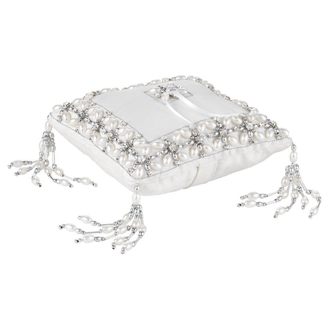 Emily Ring Bearer Pillow with Silver Beads