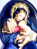 Keepsake Porcelain Plaque - Blessed Virgin Mary and Infant Child Jesus Blue Capezzale