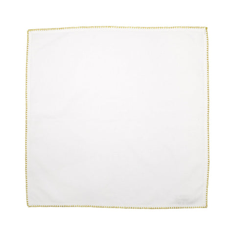 Cotone Linens Ivory Napkin with Gold Stitching - Set of 4