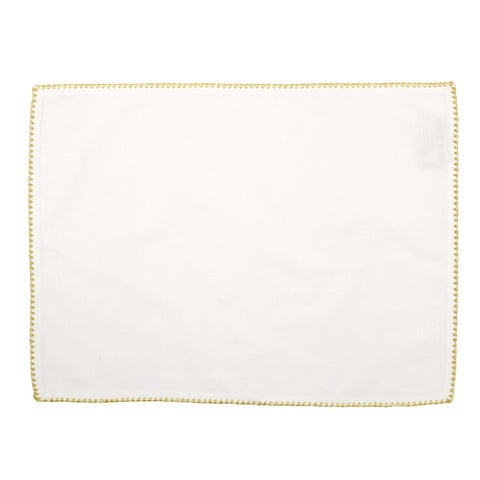 Cotone Linens Ivory Placemat with Gold Stitching - Set of 4