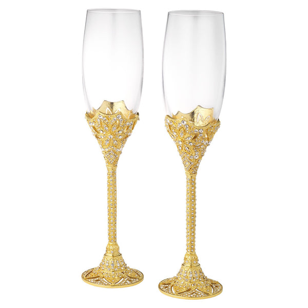 Olivia Riegel Gold Windsor Flute Set of 2 - 7 Oz. Dalmazio Design