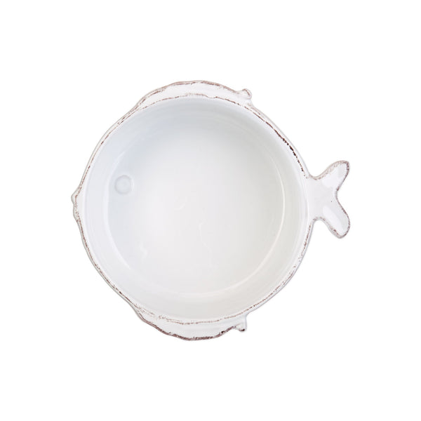 Vietri Lastra Fish White Cereal Bowl Dalmazio Design
