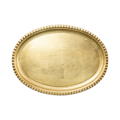 Vietri Florentine Wooden Accessories Gold Small Oval Tray Dalmazio Design