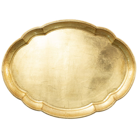 Vietri Florentine Wooden Accessories Gold Large Oval Tray Dalmazio Design