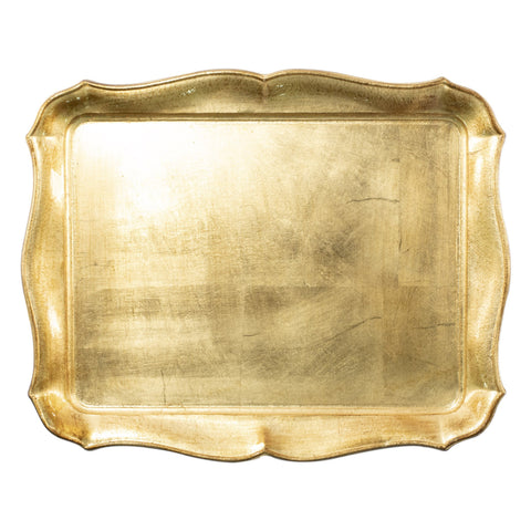 Vietri Florentine Wooden Accessories Gold Rectangular Tray Dalmazio Design