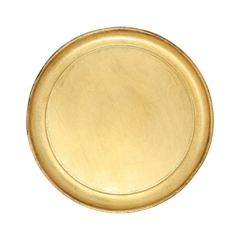 Vietri Florentine Wooden Accessories Gold Small Round Tray Dalmazio Design