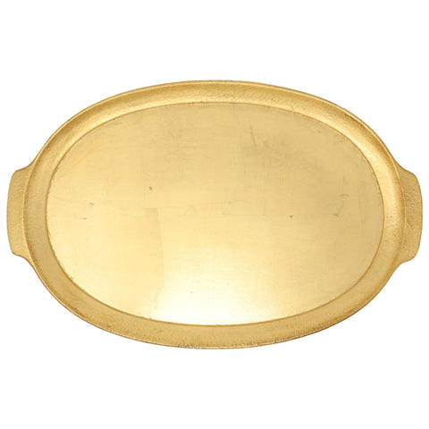 Vietri Florentine Wooden Accessories Gold Handled Medium Oval Tray Dalmazio Design