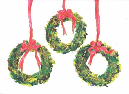 3 Boxwood Wreaths Folded Note Cards (Set of 50)