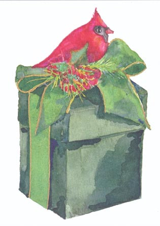 Red Bird Atop Green Box Folded Note Cards (Set of 50)