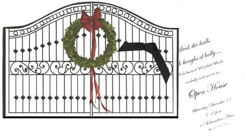 Gate w/ Wreath Personalized Holiday Card/ Invitation (Set of 50)