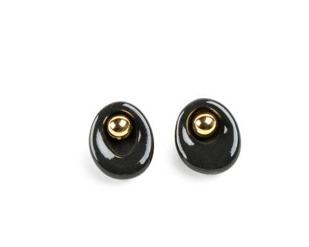 Lladro - Dalmazio Design - Golden Pebbles Stud Earrings