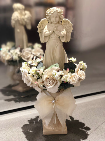 Guardian Angel Statuary Centerpiece in Glittered Floral Wreath w/ Embellished Planter