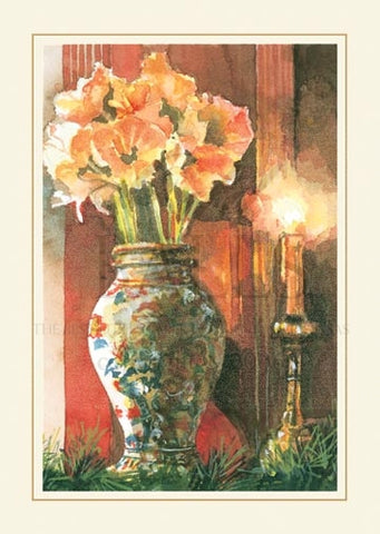 Imari and Amaryllis Personalized Christmas Cards (Set of 50)