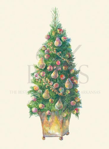 Scotch Pine and Pears Unprinted Christmas Cards (Set of 100)