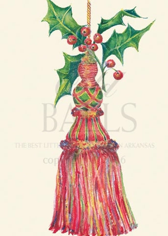Grand Tassel Unprinted Christmas Cards (Set of 100)