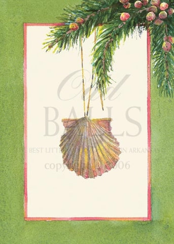 Spruce & Shell Unprinted Christmas Cards (Set of 100)