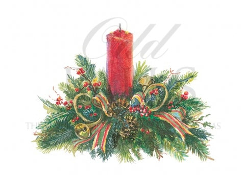 Wintergreen Centerpiece Personalized Christmas Cards (Set of 50)