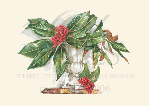 Nandina & Magnolia Unprinted Christmas Cards (Set of 100)
