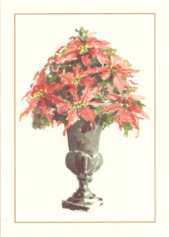 Poinsettia Urn Unprinted Christmas Cards (Set of 100)