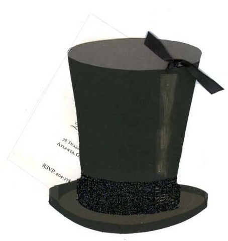 Top Hat w/ Black Ribbon Personalized Holiday Card/ Invitation (Set of 50)
