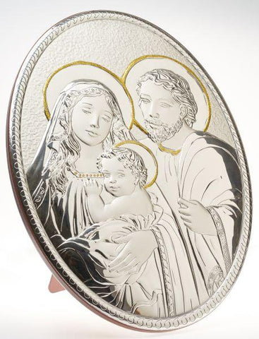 Holy Family Gold Accents W/ Italian 925 Argenti Silver Plaque #19970