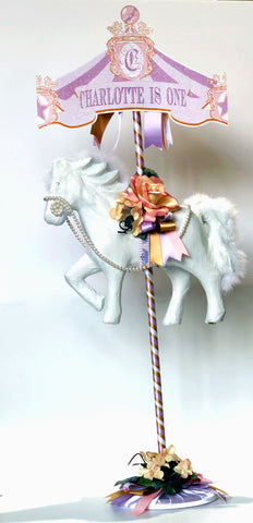Dalmazio Design Fairy Tale & Fancy Carousel Horse Centerpiece w/ Sign