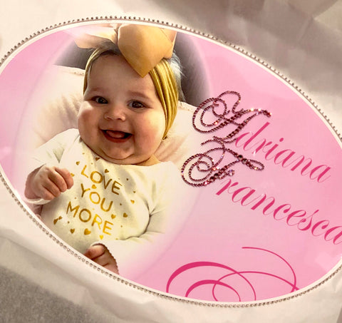 Keepsake Swarovski Plaque - Custom Baby Photo Off-Centered Left w/ Personalization & Crystalized Initials