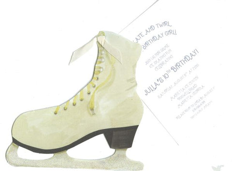 Ice Skate w/ Ivory Ribbon Personalized Holiday Card/ Invitation (Set of 50)