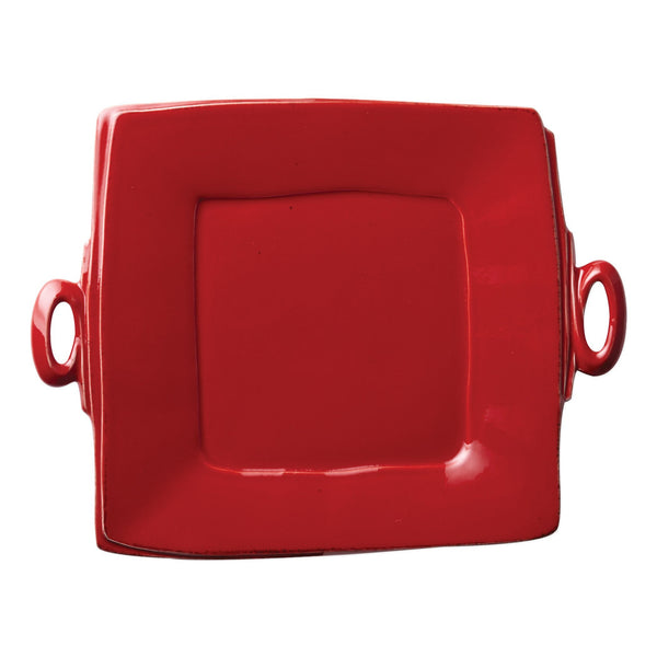 Vietri Lastra Red Handled Square Platter Dalmazio Design